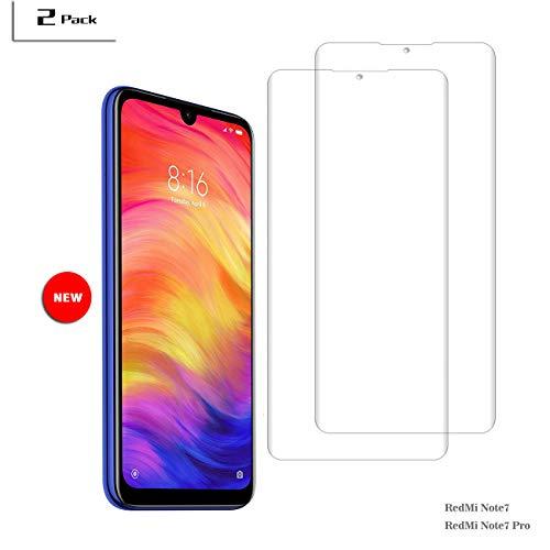 FengKS [2 Pack] Para Xiaomi Redmi Note 7 / Note 7 Pro Cristal Templado, Sin Burbuja. Mejor Ajuste Redmi Note 7 / Redmi Note 7 Pro Protector De Pantalla. Instalación Simple, Adsorción Automática.