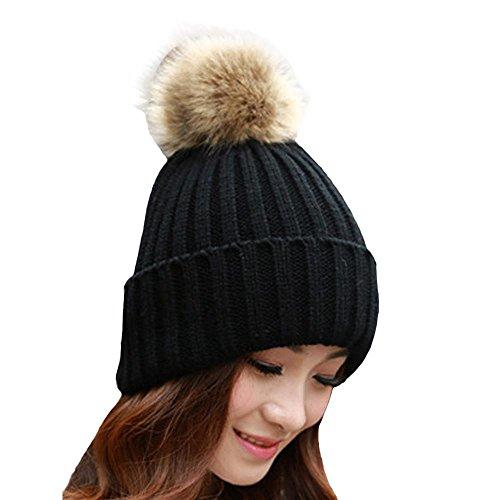 Bonnet en tricot, Bonnet de marque FeiXiang♈, féminin et tendance, avec pompon en fourrure, chaud pour l'hiver, Bonnet en laine tricoté au crochet noir