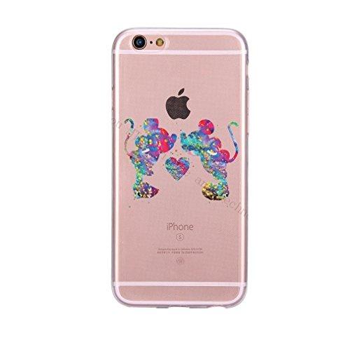 coque silicone TPU transparente pour iphone 6 - Disney - kiss mickey minnie arc en ciel