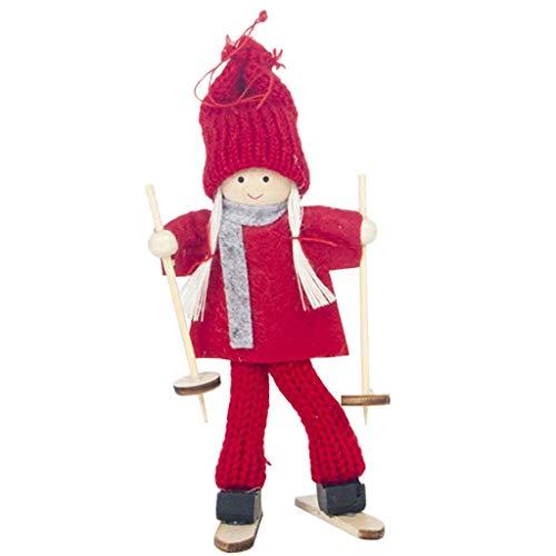 P Prettyia Weihnachten Ski Puppe Deko Figur Spielzeug Dekoartikel für Weihnachtsbaum Tür Wand Fenster und Tisch - Rot Kleidung mit Roter Hut