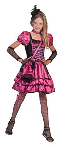 Kostüm Saloon Kinder Girl - Karneval-Klamotten Saloon-Girl Can Can Kostüm Kinder Mädchen pink-schwarz Western-Kostüm Kleid inkl. Tasche Größe 116