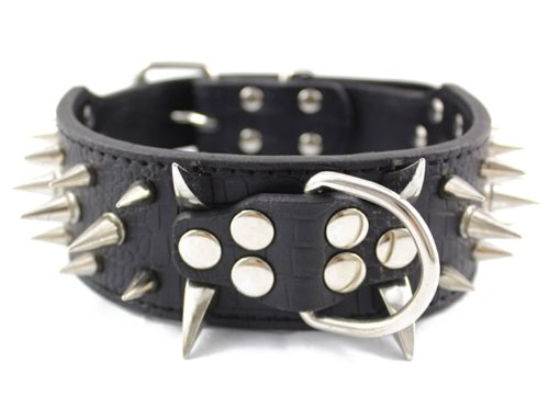 "Price comparison product image Generic Leather Spiked Studded Dog Collar 2"" Wide, 25 Spikes 44 Studs, Pit Bull, Boxer (black, S: For Neck 15""~18"")"
