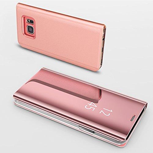 Slynmax Coque Samsung Galaxy S7 Edge Miroir Housse S7 Edge Clear View Etui à Rabat Cover Flip Case Etui Housse Translucide Support Miroir Téléphone Or Rose en PC et Cuir Samsung Galaxy S7 Edge