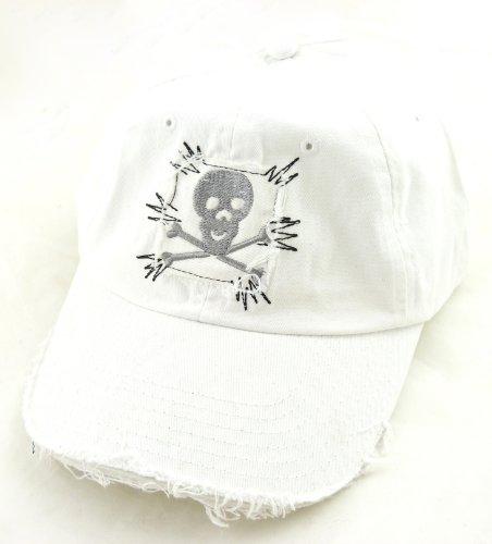 Jeans Cap alle Größen 100% Baumwolle Skull weiss 22/1 (Baumwoll-skull-cap Weiße)