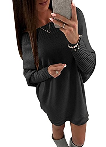 Minetom Damen Herbst Winter Elegant Schulterfrei Langarm Pullover Kleid Lose Sweater Oberteile Oversized Lang Sweatshirt Tops Schwarz DE 36 (Plissee-rüschen-jacke)