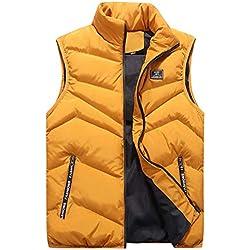 Hommes Veste Doudoune Souple Chaud sans-Manche Gilet Manteau Blouse Blouson Pardessus Hiver Autumne Casual Sweatshirt Sport Pullover Jaune XL