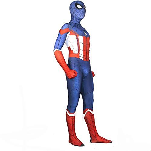 werty Cosplay Kleidung Captain America Spiderman Cosplay Kostüm Lycra Siamese Strumpfhosen 3D Digitaldruck Enge Weihnachten Halloween Kostüm Für Erwachsene Tragen XXXL (America Kostüm Captain Halloween Weiblich)