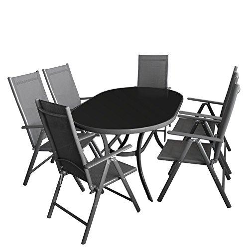 7tlg. Gartengarnitur Aluminium Glastisch 140x90cm mit schwarzer Tischglasplatte + Alu Hochlehner 7-Positionen 2x2 Textilenbespannung Sitzgarnitur Sitzgruppe Anthrazit