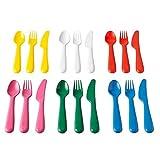Ikea New Kalas - Set di posate per bambini, 18 pezzi Plastica colori assortiti per bambini.