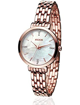 kezzi Armbanduhr Frauen Edelstahl Quarz Armbanduhr (Gold)