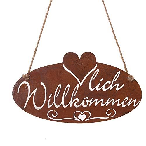 Metall Hänger. HERZLICH WILLKOMMEN. Rost Schild. Dekoschild. 27 cm. Art.: 68980