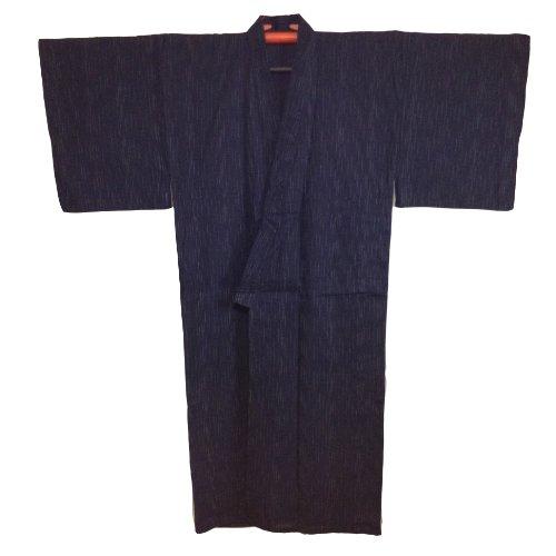 Edoten Men's Kimono Japan Shijira Weaving Yukata 703 Black L - 7