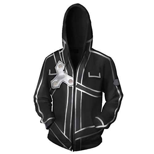 SDKHIN Unisex Frauen Männer Cosplay 3D Print Pullover Atmungsaktive Hoodie Persönlichkeit Casual Sweatshirt Jumper Langarm Schwert Art Online Reißverschluss,Black-L