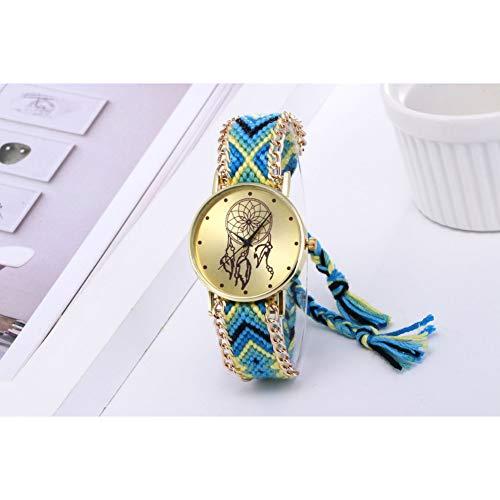 LLDNYSKH Reloj de Moda Atrapasueños Tejido Reloj Damas Reloj Retro Handmad