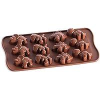 Fafalloagrron 12 molde de silicona para galletas o pasteles, diseño de dinosaurio, color chocolate
