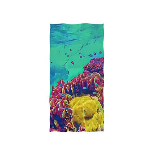 Atoll Licht (Faszinierende Korallen Unterwasser Soft Spa Strand Badetuch Fingerspitze Handtuch Waschlappen Für Baby Erwachsene Bad Strand Dusche Wrap Hotel Travel Gym Sport 30x15 Zoll)
