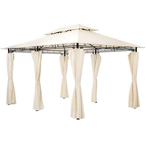 TecTake Tonnelle de luxe tente gazebo pavillon de jardin d'événement avec parties latérales 3×4 m crème