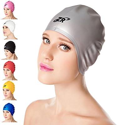 [2016 Versión Actualizado] ZIONOR 3D estilo de moda Gorro de baño unisex de silicona para el cabello medio a largo con la Guardia del oído, resistente y ligera