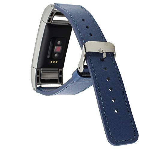 WAOTIER für Fitbit Charge2 Armband Leder Armband mit Edelstahl Verschluss Weicher Softer Leder Ersatzband für Fitbit Charge 2 Armband Business Casual Retro Armband für Männer und Frauen (Blau)
