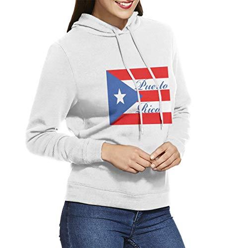 Eamibay Puerto Rico Long Sleeve Women's Hoodie Sweatshirt Drawstring Hooded Pullover Tops Blouses White M
