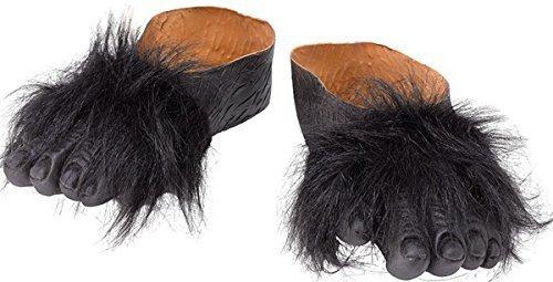 stüm Halloween Party Zubehör Gorilla Behaarte Hände & Fuß - Fuß, One size (Halloween-kostüme-gorilla)