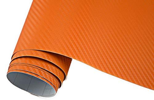 Neoxxim 4,60€/m2 Premium - Auto Folie - 3D Carbon Folie - ORANGE 500 x 150 cm - blasenfrei mit Luftkanälen ca. 0,16mm dick
