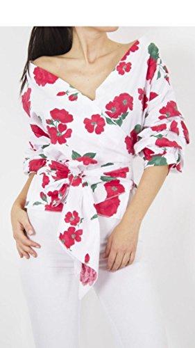 Fashion Lovers Damen Bluse Rot/Blumenmuster
