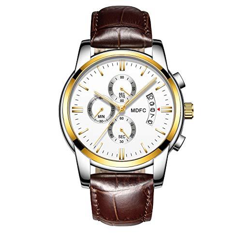 Lederband für Uhren, Lässige Uhren, Business & Sport Uhren für Jungen mit 30 Meter Wasserdichtes Design und mit Leuchtende Zeiger, Kalender, Stoppuhr gebaut ()
