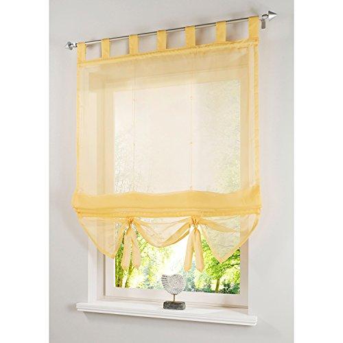 Cortina romana amarillas transparente para salón 100x155 cm