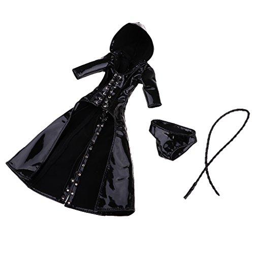 MagiDeal 1:6 Schwarz Mantel mit Kapuze und Unterwäsche Kleidung Set für 12 Zoll Action Figuren