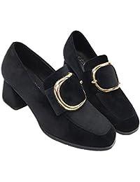 La nueva cabeza cuadrada con una sola zapatos con hebilla de lado informal zapatos de tacón alto , black , 6