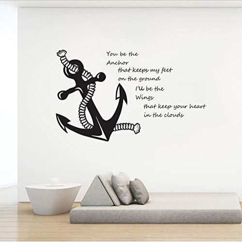 Du bist mein Anker Zitat Wandtattoos Nautischen Thema Dekoration Segel Anker Wandaufkleber Abnehmbare Vinyl Sea Poster 94X57 cm