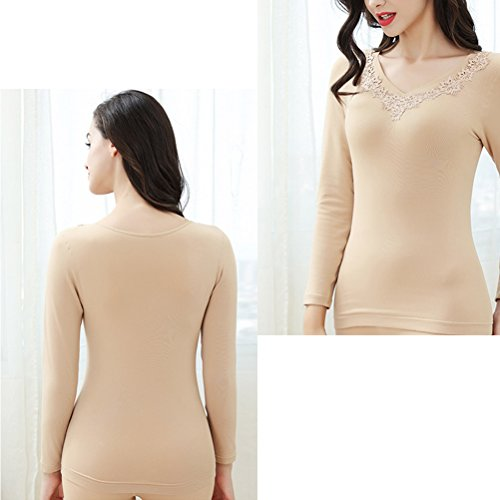 Zhuhaitf Quality Long Sleeve Thickened Winter Around Neck Elegante Thermal Underwear for Womens Winter Nude