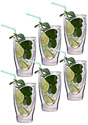 AKTION: 6x 370ml XXL doppelwandige Cocktailgläser / Longdrinkgläser / Eistee-Gläser / Saft- und Wassergläser -…