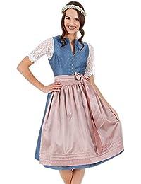 Krüger Dirndl Lichtspiel dunkelblau 60er Länge Blau Tracht Oktoberfest Kleid