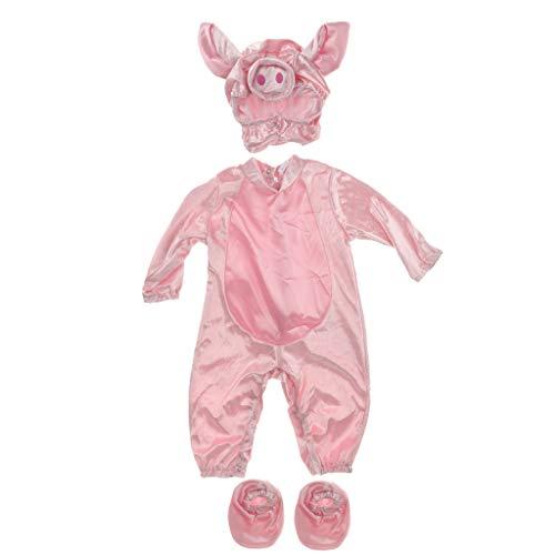 Für Schweinchen Kleinkind Kostüm - IPOTCH baby Strampler, Baby Mädchen Junge Spielanzug Flanell Baumwolle Winter Overall Tier Kostüme Hooded Bekleidung Outfits - Schweinchen, 12-18 Monate