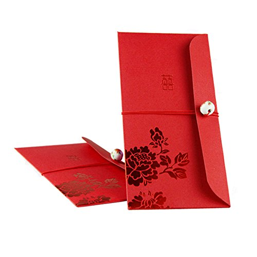Ordery Red Envelopes Traditional Chinese Wedding, Porcelain Bead and Peony Design, New Year Gifts, Red Packets Pack of 10
