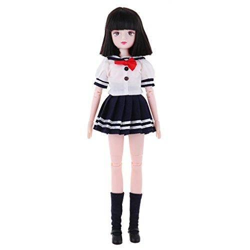 D DOLITY Schöne Puppe Schuluniform/ Stewardess Uniform Outfit Set & 18 Gelenke Puppe Körper für 25 cm Puppe Dress up - Schuluniform - 1