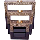 Art for Gifting Wooden Half Brass Plated Square Candle Stand Set of 3 Pieces Sizes 25 x 25, 20 x 20, 15 x 15 cms. Weight 2000 GMS