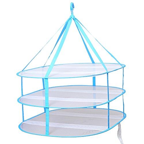Vorcool appeso maglione asciugatrice 3 livelli pieghevole in rete vestiti stendino lavanderia cesto asciugatrice rete (blu)
