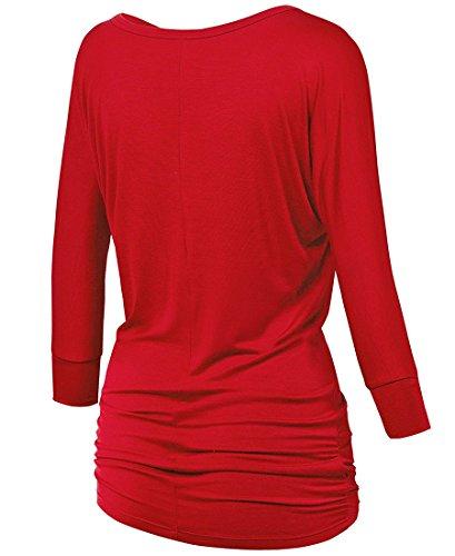 lymanchi Damen Rundhals 3/4 Ärmel Falten Shirt Crewneck Fledermaus Batwing Tunika Top Rot