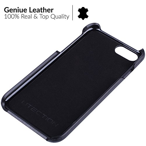 UTECTION cover iPhone 7 / 8 vera pelle book-style leather case rigida Fit - Custodia in vera vacchetta iPhone 7 / 8 (4,7  pollici) caso a libro con porta carte di credito e banconote| Cognac Nero