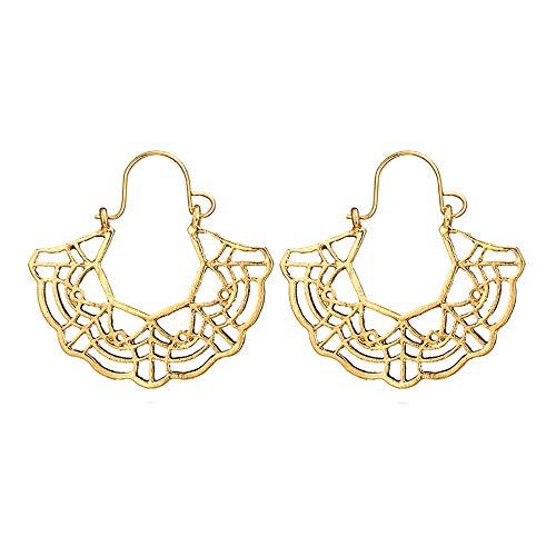 UINGKID Ohrstecker Mode Einfache Stilvolle Attraktive Frauen-Retro überbackene hohle Ohrringe einfache Ginkgo-Blatt-Ohrstecker -