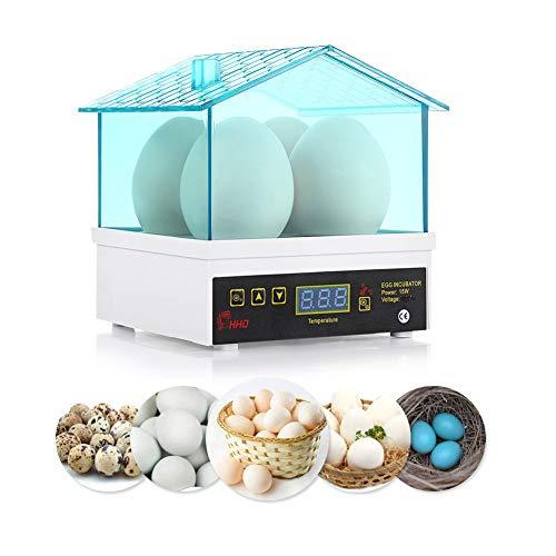 Arzja Incubatrice di Uova, Mini Digitale Semi Automatico Uovo Hatcher 4 Uova Cova Macchina Temperatura Controllo per Pollo Quaglie Piccioni, Spina UE