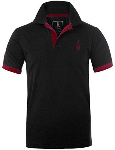 GLESTORE Herren Poloshirt Einfarbig Basic Kurzarm Polohemd T1-Schwarz L -
