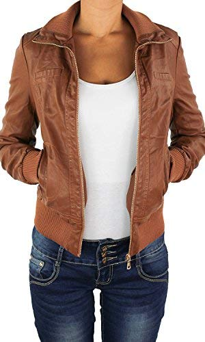 Damen Lederjacke Kunstlederjacke Leder Jacke Damenjacke Jacket Bikerjacke 09all XL Nussbraun