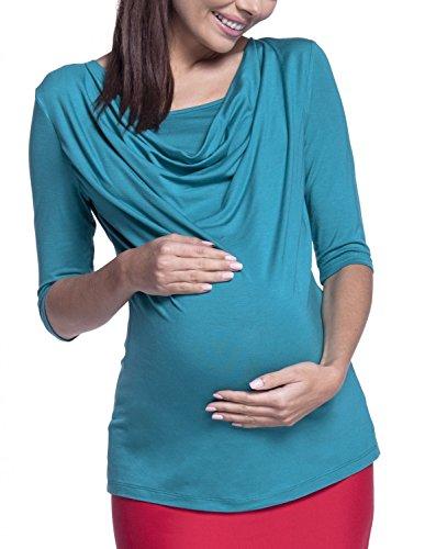 Happy Mama. Femme Top de Maternité d'Allaitement Encolure Double Couches. 269p Sarcelle