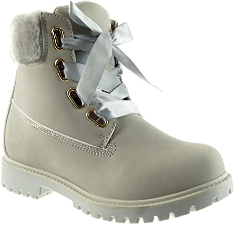 Angkorly - Damen Schuhe Stiefeletten - Combat Boots - Biker - Pelz - Schnürsenkel aus Satin Blockabsatz 2.5 cm