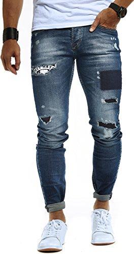 LEIF NELSON Herren Jeans Hose Jeanshose Stretch Blau Freizeithose Denim Slim Fit LN9940BL; W36L32, Blau