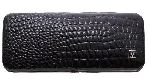 Zwilling Étui de manucure avec 5 accessoires Noir/effet peau de croco brillante